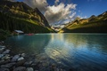Picture forest, mountains, nature, lake, Alberta, Lake Louise, Canada, Canoe