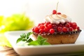 Picture tartlet, cakes, dessert, sweet, red, leaves, berries, cream, cake, currants