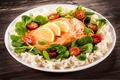 Picture tomatoes, lemon, cherry, tomatoes, cherry, leaves, figure, serving, fish, fish