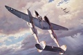Picture aviation, ww2, painting, fighter, airplane, art, p 38 lightning, war