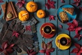 Picture gloves, autumn, pie, scarf, pumpkin, leaves, coffee, Notepad, watch, handle