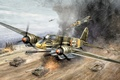 "Picture aviation, ww2, painting, art, Henschel Hs 129 B3, ""Tank Buster"", ground-attack aircraft, war"
