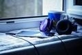 Picture headphones, window, Cup, cup, window, smartphone, smartphone, headphone