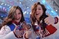 Picture eyes, Adelina Sotnikova, Beautiful, brunette, beautiful, famous athlete, Elena Ilinykh, language, beautiful, Olympics, skater, beauty, ...