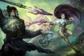 Picture male, girl, magic, art, spear, Magic The Gathering