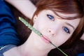 Picture redhead, look, beautiful, blue eyes, woman
