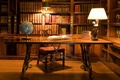 Picture SHELVES, GLASSES, LIBRARY, ROOM, CHAIR, GLOBE, BOOKS, OLD, TABLE, LAMP