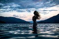Picture wave, water, girl, mountains, the wind