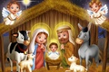 Picture donkey, art, Christmas, lamb, sheep, hay, the cradle, sheep, child, cow, night, angels, star