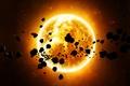 Picture stones, star, space, orange, asteroids