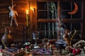 Picture apples, Ghost, bulb, a month, candle, window, Halloween, hanged, pentagram, bowler, skull, ball, Cup, book, ...