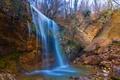 Picture landscape, autumn, Crimea, gorge, waterfall, autumn, trees, waterfall, stones