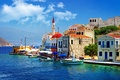 Picture sea, trees, people, home, old, boats, Greece, pier, slope, promenade