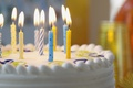 Picture cake, candles, cream