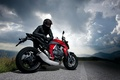 Picture nature, road, the sky, motorcycle, racer, clouds