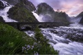 Picture flowers, Odda, bridge, mountains, Give, Norway, waterfall, Norway, Latefoss, Latefossen, rocks, river, stones, cascade