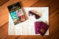 Picture glasses, New York, passport, map