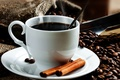 Picture saucer, coffee beans, Cup, bag, cinnamon, coffee