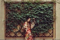 Picture leaves, girl, wall, dress, model look