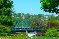 Picture Canada, people, blue sky, Quebec, church, yellow flowers, beautiful happy girls, hill bridge, green lawn ...