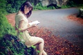 Picture road, girl, book, Asian