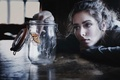 Picture photo, situation, jar, face, butterfly, feeling, mood, Girl, brunette, portrait, table, look