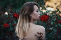 Picture girl, flowers, face, portrait, makeup, brown hair, beautiful, the beauty, nature, pretty, beauty, chic, feeling, ...