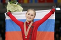 Picture smile, victory, bouquet, flag, medal, RUSSIA, Yulia Lipnitskaya, skater, champion