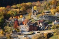 Picture tilt shift, home, trees, autumn, small town