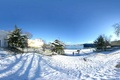 Picture sea, ate, ships, snow, winter, trees, columns