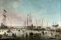 Picture picture, ship, boat, Hendrick Dubbels, The Port Of Amsterdam In Winter, shore, people, seascape