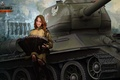 Picture girl, tank, girl, tanks, Bayan, WoT, World of tanks, tank, World of Tanks, tanks, T-34-85, ...