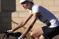 Picture girl, bike, t-shirt, Anouck Lepere