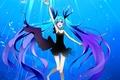Picture hatsune miku, Vocaloid, art, bubbles, under water, fish, temari, girl, shinkai shoujo, deae, vocaloid