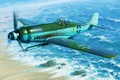 Picture painting, Focke-Wulf FW190D-12 R14, airplane, war, art