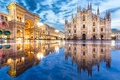 Picture night, lights, reflection, area, Italy, Cathedral, Milan, Duomo