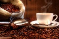 Picture coffee, coffee beans, white, bag, Cup