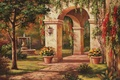 Picture picture, Sung Kim, painting, painting, facade, house, arch, fountain