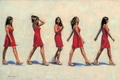 Picture girl, red, picture, dress, brunette, art, gait, Gavin Glakas