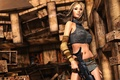 Picture pose, weapons, rendering, look, the building, background, destruction, face, hair, girl