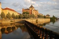Picture home, Prague, Czech Republic, Palace, the sky, promenade, river, clouds