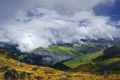 Picture the sky, clouds, mountains, height, valley, Top