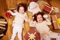 Picture joy, smile, girls, toys, small, lantern, gifts, New year, bow, bear, beautiful, toys, New Year, ...