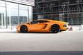 Picture aventador, lp700-4, Lamborghini, the building, reflection, aventador, lamborghini, Windows, orange, orange, side view