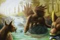 Picture griffins, wings, creatures, art, fish, fantasy, river, stones