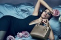 Picture flowers, pose, model, roses, makeup, advertising, figure, dress, actress, brunette, hairstyle, bed, handbag, brand, Marion ...