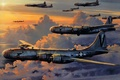 """Picture bombers, American, strategic, The second world war, """"Boeing"""" B-29 """"Superfortress"""", figure, the sky, clouds"""