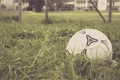 Picture the ball, the game, grass, football