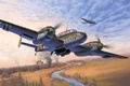 Picture ww2, painting, airplane, art, german bomber/fighter, heavy fighter, Messerschmitt Bf 110, aircraft, war