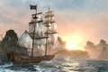 Picture night, ship, island, Black Flag, Assassin's Creed IV